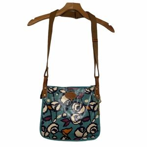 Fossil Floral Teal Coated Canvas Crossbody Bag